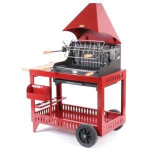 Barbecue charbon Le Marquier Mendy avec hotte rouge