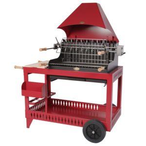 Barbecue charbon Le Marquier Isturitz avec hotte rouge