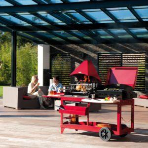 Barbecue avec plancha Le Marquier Mendy Alde avec hotte rouge