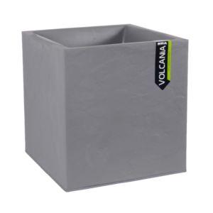 Bac carré Volcania résine L39 H43 cm gris galet