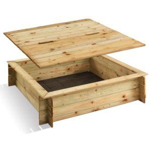 Bac à sable carré en bois traité avec couvercle