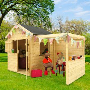 Maisonnette enfant en bois Alpaga avec pergola 3,14 m²