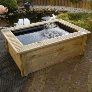 Kit Bassin hors sol Quadra C3 Ubbink : Bassin 365L + contour en bois + pompe Xtra 600. PLANTES-ET-JARDINS – Jardinerie en ligne