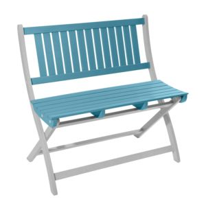 Banc pliant City Green Burano en bois 2/3 places bleu