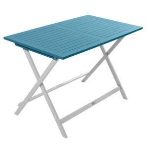Table pliante City Green Burano en bois l113 L65 cm bleu