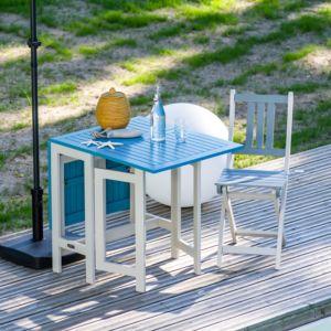 Table console pliante City Green Burano en bois l37-135 L65 cm bleu