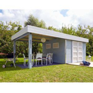 Abri de jardin bois contemporain toit plat et auvent 20.37 m² en madriers d'épaisseur 28 mm Lounj – Plantes et Jardins – Jardinerie en ligne