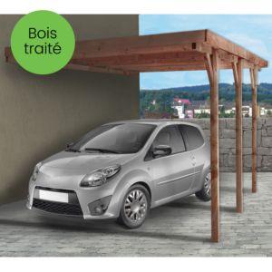 Carport adossable en bois traité Madeira Hector 15,58 m²