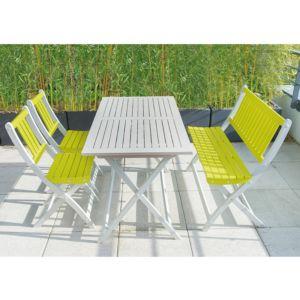 Salon de jardin en bois peint Burano City Green : Table L115 H74 cm argile + 2 Chaises pliantes anis + 1 Banc pliant anis. Ecologique Eco-responsable