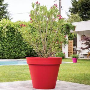 Pot XL EDA Toscane en résine plastique Ø100 H80 cm rouge rubis