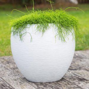 Pot EDA Egg Graphit en résine Ø50 H45 cm blanc