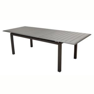 Table de jardin Louisiane en aluminium l187/247 L100 cm gris