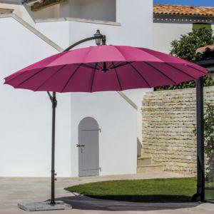 Parasol déporté inclinable Pagode en aluminium Ø300 cm rouge framboise