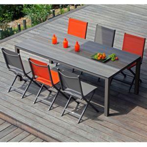 Table de jardin Galléo en aluminium et plateau Trespa HPL l210 L100 cm café marron