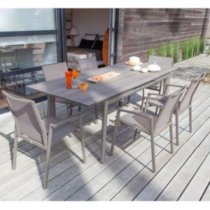 Table de jardin Miami en aluminium et plateau en HPL l168/223 L90 cm rallonge autoélévatrice café