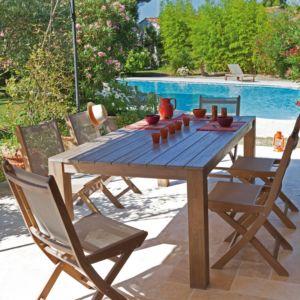 Table de jardin Kéa en bois cérusé l200 L100 cm