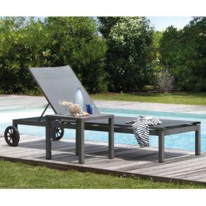 Bain de soleil Thema en aluminium et textilène gris argent