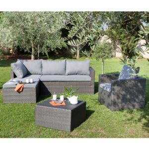 Salon de jardin bas Modéna avec fauteuil + canapé méridienne droite/gauche + table basse