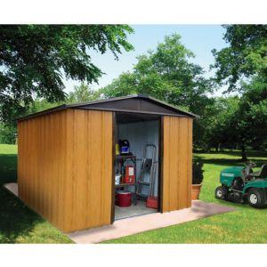 Petit abri de jardin en métal aspect bois 2,77 m² Ep. 0,30 mm Yardmaster. PLANTES ET JARDINS – Jardinerie en ligne