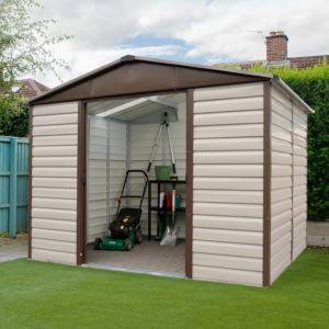 Petit abri de jardin en métal 4,79 m² Ep. 0,30 mm Yardmaster taupe/marron. PLANTES ET JARDINS – Jardinerie en ligne