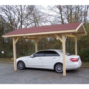 Carport en bois avec toit double pente 17,50 m² Habrita PLANTES ET JARDINS – Jardinerie en ligne
