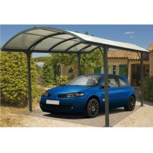 Carport aluminium toit polycarbonate 14,62 m² avec montage Habrita