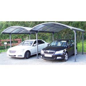Carport double en aluminium toit polycarbonate 28,62 m² Habrita. PLANTES-ET-JARDINS – Jardinerie en ligne