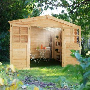Abri de jardin en bois avec toit polycarbonate 6,32 m² Ep. 28 mm Soleil