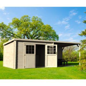 Abri de jardin bois toit plat + auvent 18,31 m² Ep. 28 mm Eden. PLANTES-ET-JARDINS – Jardinerie en ligne