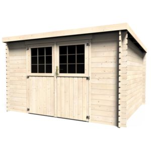 Abri de jardin en bois 9,90 m² Ep. 28 mm toit plat Elan. PLANTES-ET-JARDINS – Jardinerie en ligne