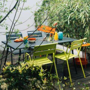 Salon de jardin Fermob Monceau : 4 personnes carbone/verveine
