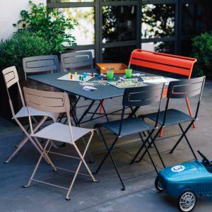 Salon de jardin Fermob Cargo : 8 pers. carbone/muscade/capucine