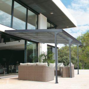 Tonnelle adossée en aluminium 3,5×4 m + toit polycarbonate Atlantis