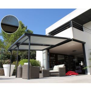 Tonnelle adossée en aluminium + Lames orientables 4×3,5 m Azura