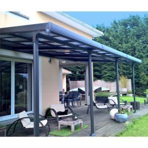 Tonnelle adossée en aluminium + toit polycarbonate 3,5×6 m Azura