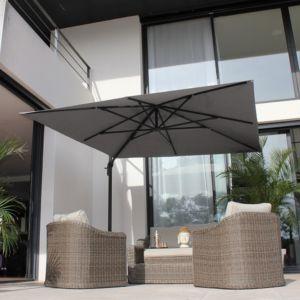Parasol décentré en angle aluminium 3×2,8 m Roméo gris