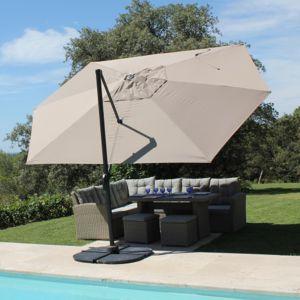 Parasol décentré aluminium 4,2×3 m Marco gris