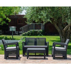 Salon de jardin résine St-Barth : 2 fauteuils + canapé + table basse