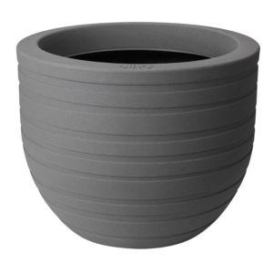 Pot rond Elho en fibre synthétique et fibre de bois, de diamètre 40 cm, couleur gris. Modèle Ribbon Allure