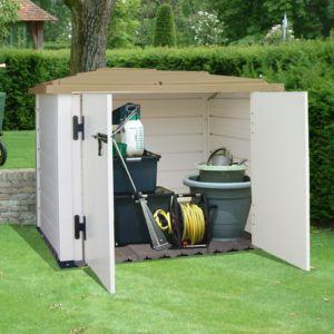 Coffre de jardin en résine PVC 1100L EVO Garofalo doté de 2 portes, un verrou, un plancher en dalles de bois composite
