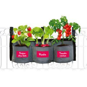 Kit complet Croq' potager avec jardinière textile à suspendre + sachets graines semences Kitchen Gardening
