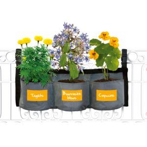 Kit Croq' fleurs avec jardinière textile à suspendre + graines semences Kitchen Gardening