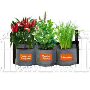 Kit Croq' Intenses avec jardinière textile à suspendre + graines semences Kitchen Gardening