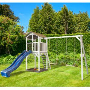 Station de jeux en bois + Toboggan + 2 balançoires Beach Tower PLANTES-ET-JARDINS – Jardinerie en ligne