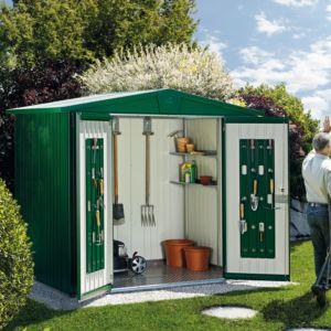 Abri de jardin en métal 5,56 m² Ep. 0,53 mm Europa 4 Biohort vert foncé PLANTES ET JARDINS – Jardinerie en ligne