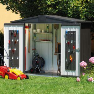 Abri de jardin en métal 5,56 m² Ep. 0,53 mm Europa 4 Biohort gris foncé PLANTES ET JARDINS – Jardinerie en ligne