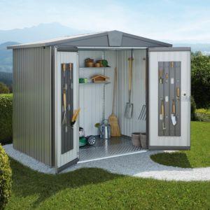 Abri de jardin métal 7,20 m² Ep. 0,53 mm Europa 5 Biohort gris PLANTES-ET-JARDINS – Jardinerie en ligne