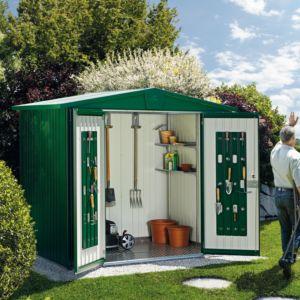 Abri de jardin métal 7,20 m² Ep. 0,53 mm Europa 5 Biohort vert foncé PLANTES-ET-JARDINS – Jardinerie en ligne