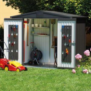 Abri de jardin métal 7,20 m² Ep. 0,53 mm Europa 5 Biohort gris foncé PLANTES-ET-JARDINS – Jardinerie en ligne