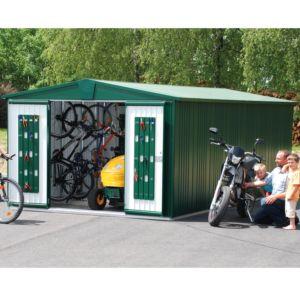 Abri de jardin en métal 9.48 m² Ep. 0,53 mm Europa 7 Biohort couleur vert foncé  PLANTES ET JARDINS JARDINERIE EN LIGNE